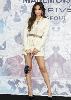 Seoul south korea june 21 jennie of girl group blackpink attends the mademoiselle prive exhibition at Blackpink Jennie, Blackpink Outfits, Fashion Outfits, Blackpink Fashion, Korean Fashion, Kpop Mode, Black Pink Kpop, Girl Celebrities, Looks Chic