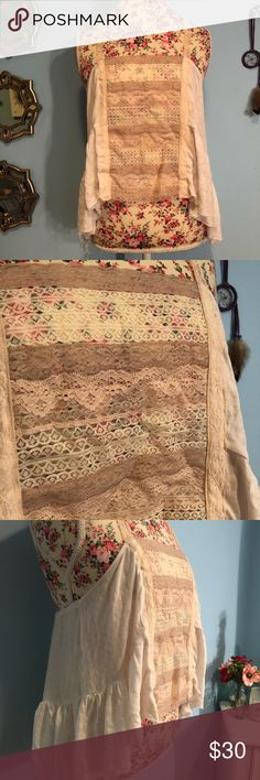 Free People boho lace tank large Gently worn. In good condition, no flaws or damages. Free People Tops Tank Tops