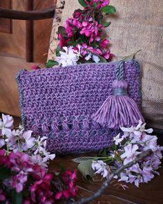 Crochet handbag with tassel... Made by mushroom service
