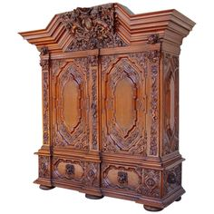 Authentic Hallway Cabinet from Gdansk, circa1890   From a unique collection of antique and modern cabinets at https://www.1stdibs.com/furniture/storage-case-pieces/cabinets/