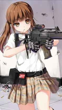 That Moment you look SOOO COOL with a gun!!!; anime girl rifle lolipop