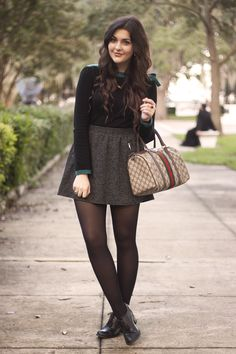Gray and black winter skirt ensemble.