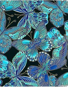 butterfly black & blues wallpaper