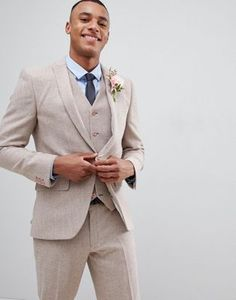 Order ASOS DESIGN wedding skinny suit jacket in dusky pink herringbone online today at ASOS for fast delivery, multiple payment options and hassle-free returns (Ts&Cs apply). Get the latest trends with ASOS. Casual Wedding, Wedding Men, Wedding Suits, Wedding Attire, Wedding Dresses, Wedding Themes, Wedding Styles, Costume Beige Homme, Costume Slim