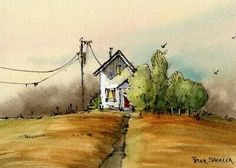 "Home to roost"" ACEO Original Watercolor Peter Sheeler fall house farm Canadian Art, Halloween Folk Art, Watercolor Projects, Nature Art, Autumn Leaves Prints, Art, Original Watercolors, Landscape Drawings, Peter Sheeler"