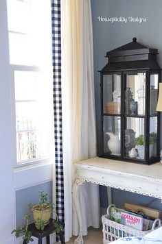 Guest Room-Housepitality Designs - trimming drapes with check fabric - love this ! Ikea Curtains, Check Fabric, Ikea Hack, Cottage Style, French Doors, China Cabinet, Vignettes, Window Treatments, Tablescapes