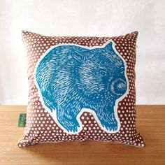 OOAK Wombat cushion cover // appliqued wombat cushion cover // Australian animal cushion cover