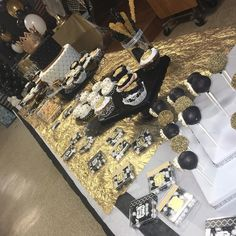 #desserttable #black #gold #white #prince
