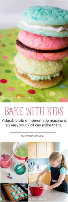 Perfect recipe to bake with your kids: Homemade macarons based on the American Girl Grace books. Love these simple flavors: vanilla buttercream, chocolate ganache, and pistachio fluff!