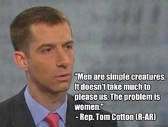 Now that #TomCotton has our attention, let's all remember him blaming women for divorce: http://j.mp/MG8jyu  #p2