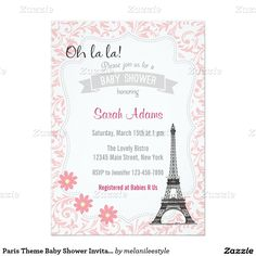 Paris Theme Baby Shower Invitation - Paris in springtime!  What could be prettier for a little girl's baby shower than these pink and gray spring baby shower invites featuring the Eiffel Tower?  Personalized invites feature a glamorous view of the tower along with flowers and other chic décor.