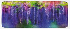 Lunarable Flower Kitchen Mat, Ornamental Wisterias Down Seed of Life Cultivation Botany Artwork Pattern Print, Plush Decorative Kithcen Mat with Non Slip Backing, 47 W X 19 L Inches, Purple Green