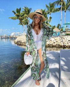 Shop Your Screenshots™ with LIKEtoKNOW. Kimono Swim Cover Up, Bathing Suit Cover Up, Bathing Suits, Beach Vacation Outfits, Cruise Outfits, Summer Outfits, Club Outfits, White Swimsuit, Outfits