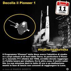 11 ottobre 1958: decolla il Pioneer 1 per studiare la Luna ma non riuscirà a raggiungerla  Immaginate ancora una volta la Luna e gli altri pianeti del sistema solare. Alla fine degli anni Cinquanta del XX secolo non apparivano più come una frontiera irraggiungibile ma anzi come la eta prossima ventura dellumanità molto più di quanto non sarebbero poi diventati. In particolare il Programma Pioneer della Nasa aveva lobiettivo di studiare i corpi celesti al di fuori della Terra. In particolare…