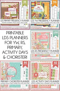 Great collection of printable LDS Presidency Planners - she has Primary, RS, YW, Primary Chorister or Music Leader and Activity Days Leader - complete with monthly and weekly planning pages, calendars, notes, activity planners and more... MUST PIN!! #LDS #mycomputerismycanvas