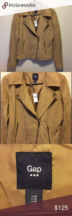 Suede Moto Jacket Tan suede with silk lining, bronze zipper adjustable sleeves and pockets. Absolutely adorable on just one size too big for me😢 GAP Jackets & Coats