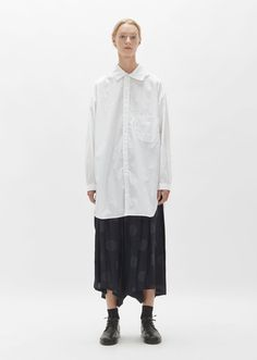 Cotton Open Collar Shirt by Yohji Yamamoto- La Garçonne Open Collar Shirt, Collar Shirts, Fashion Outfits, Ladies Fashion, Womens Fashion, Black N White, Yohji Yamamoto, White Shirts, White Fashion
