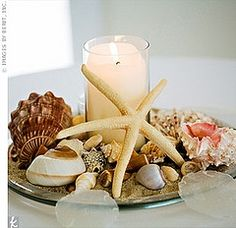 Centre pieces for the reception! Seashell Centerpieces, Beach Wedding Centerpieces, Reception Decorations, Table Centerpieces, Wedding Table, Wedding Reception, Centerpiece Ideas, Vases Decor, Table Decorations