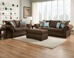 Chocolate Brown Couch Set | Jitterbug Cocoa Sofa and Loveseat