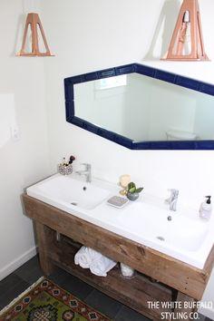 Rustic Eclectic Master Bathroom - thewhitebuffalostylingco.com