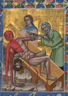 Martyrdom of St. Bartholomew, from Hungarian Anjou legendary single leaves ~ ca.1335 Morgan Library