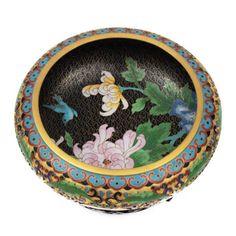 Bowl oriental em bronze, decorado em esmalte cloisoné, ..