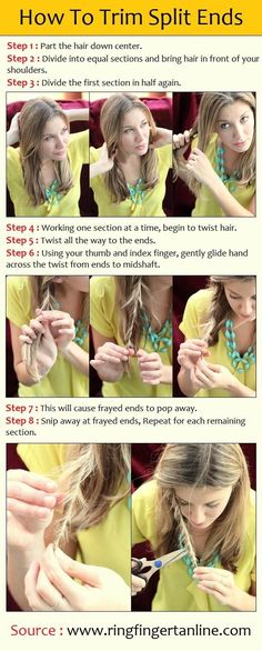 DIY trimming split ends - I do this! BUT with real hair shears- not kitchen scissors!!!