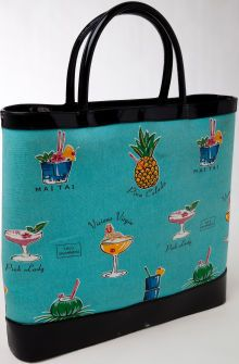Heritage Vintage Lulu Guinness Turquoise Canvas Tote Unique Handbags Luggage Bags