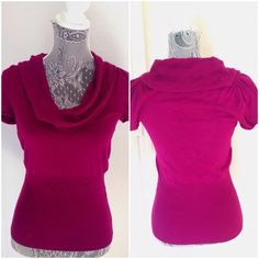 Express cowl neck sweater Express cowl neck short sleeve sweater. Beautiful magenta/fuchsia color! May have been worn only once or twice. Size small. 80% rayon 17% nylon 3% spandex, collar is 100% rayon. Great fall piece! Express Sweaters Cowl & Turtlenecks