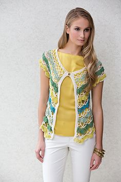 Tiers of five harmonizing shades of COTTON CLASSIC LITE create a layered effect on this openwork vest, which is closed with a single button at the top. Crochet Hooks, Knit Crochet, Stitch Patterns, Crochet Patterns, Crochet Jacket, Crochet Clothes, Boho, Clothes For Women, Classic