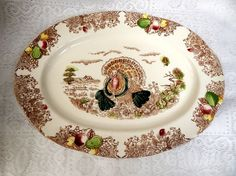 Vintage  Turkey Platter 16 1/4 in by 12 in. by SwedishGalsAntiques
