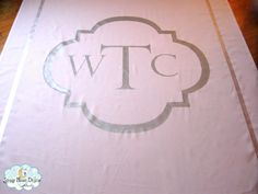 Wedding aisle runner with silver monogram