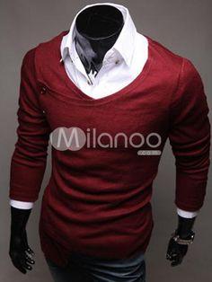 Unique Burgundy Cotton V-neck Men's Pullover Knitsweater - Milanoo.com