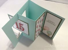 top view of handmade birthday Pop Out Swing Card from The Craft Spa ... delightful fun fold for display ... large number die die cut from red glitter papers ... Stampin' Up!