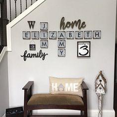 Amy Wolfinger added a photo of their purchase Scrabble Tile Wall Art, Family Wall Decor, Farmhouse Style Decorating, Diy Room Decor, Home Decor, Wood Tiles, Gallery Wall, Stove Backsplash, Cricut