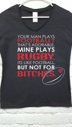 My Man Plays Rugby t-shirt mature football tee rugby by SpiffyRags