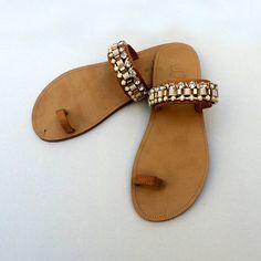 LIMNOS - Handmade Ancient Greek Leather Sandals / Gladiator / Spartan / Women Flat Shoes / Summer Flip Flop