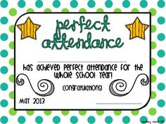 Perfect Attendance Award Certificates | School Certificates ...