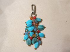 Turquoise Bead Key Chain/Pocketbook Bling by JessicasJules on Etsy