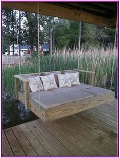 Built a Frame To Hold a Full Size Mattress, Add Chaise Lounge Cushions and Hung 30 Pallet Bed Swing At Backyard Ideas 33 – Kawaii Interior Outdoor Spaces, Outdoor Living, Outdoor Ideas, Lakeside Living, Outdoor Decor, Pallet Swing Beds, Pallet Daybed, Pallet Swings, Wood Daybed