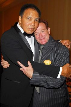 RIP: Muhammad Ali and Robin Williams during Muhammad Ali's Celebrity Fight Night XII - Inside at JW Marriott Ridge Desert Resort in Phoenix, Arizona, United States. (Photo by M. Caulfield/WireImage for PMK/HBH) Mohamed Ali, Robin Williams, Sports Illustrated, Photo Star, Float Like A Butterfly, After Life, Portraits, African American History, History Facts