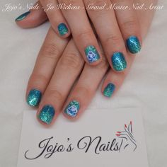 CND Brisa Lite Smoothing Gel & Shellac manicure with Rockstar glitter fade and hand painted one stroke flowers - By Jo Wickens @ Jojo's Nails - www.jojosnails.com