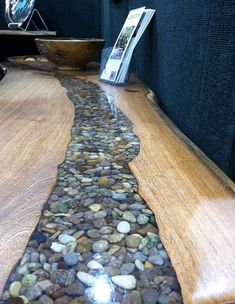 Rock and Resin River Table by Tree Stump Woodcrafts