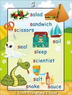 s sound - - FREE PRINTABLE phonics poster for auditory discrimination, sound studies, vocabulary and classroom reference.