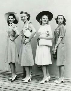 1940s day wear- how I wish woman still dressed like this instead of the immodest, trashy, revealing clothes of today. Classy feminine, and modest