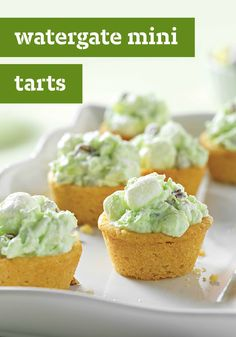 Watergate Mini Tarts – Here's the mini sweet treat version of our famous Watergate Salad—sweet with COOL WHIP Whipped Topping and creamy with JELL-O Instant Pudding. Skip the salad bowl; this uses sugar cookie dough instead! The hardest party of this easy dessert recipe? Waiting for the pudding mixture to completely cool in the refrigerator.