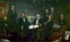 Lincoln presents the first draft of the Emancipation Proclamation to his cabinet. Painted by Francis Bicknell Carpenter in 1864. http://www.goodreads.com/book/show/15862879-the-paranormal-presidency-of-abraham-lincoln