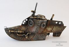 Steampunk Submarine by diarmentcreations on Etsy (cardboard and paint, amazing paint job)