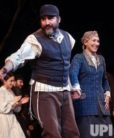 """Cast members Alfred Molina and Randy Graff take their opening night curtain call bows on Feb. 2004 in the Broadway revival production of """"Fiddler on the Roof. Theatre Plays, Musical Theatre, Alfred Molina, Fiddler On The Roof, In The Hole, Curtain Call, Play Ideas, Theatres, Musicians"""