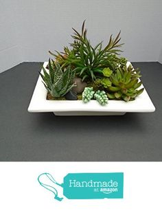 Artificial Succulent Arrangement in Ceramic Dish from Natures True Art… Artificial Succulents, Artificial Flowers, Succulent Arrangements, True Art, Terrariums, Diy Ideas, Ceramics, Dishes, Plants